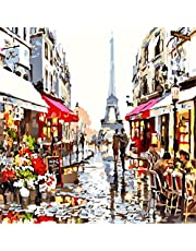 Wowdecor Paint by Numbers Canvas Kits for Adults Beginner Kids, DIY Acrylic Number Painting - Paris Eiffel Tower Flowers Street Scenery 16x20 inch - Wall Art Digital Oil Painting Home Decor Christmas Gifts (Framed)