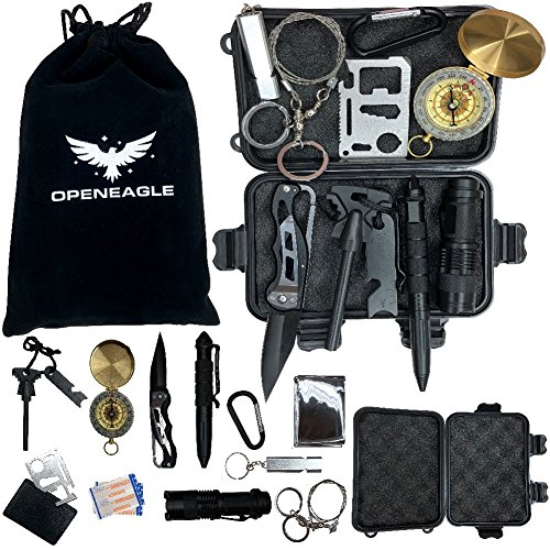Open Eagle 13 in 1 Emergency Survival Kit – Complete with Pocket Knife, Blanket, Tactical Pen, and Other SOS Tools – Small, Mini and Compact, Perfect for Hiking, Camping, Backpacking, and Outdoors