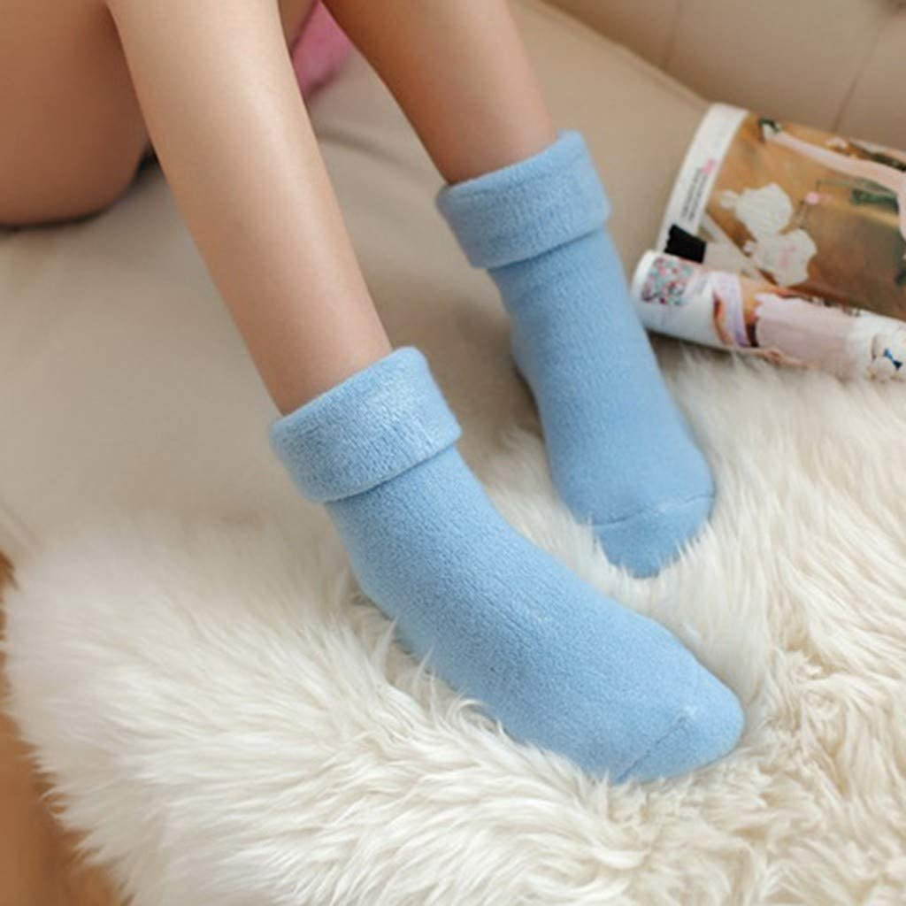 Womens Winter Thermal Socks Warm Fleece Lined Stretchy Slipper Socks Thick Anti-Slip Floor Socks Solid Carpet Socks