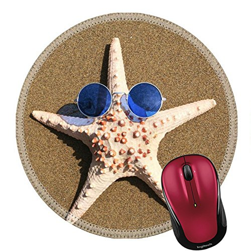 Liili Round Mouse Pad Natural Rubber Mousepad IMAGE ID: 397188 Starfish wearing 1960s - Orange With Sunglasses Fish Logo
