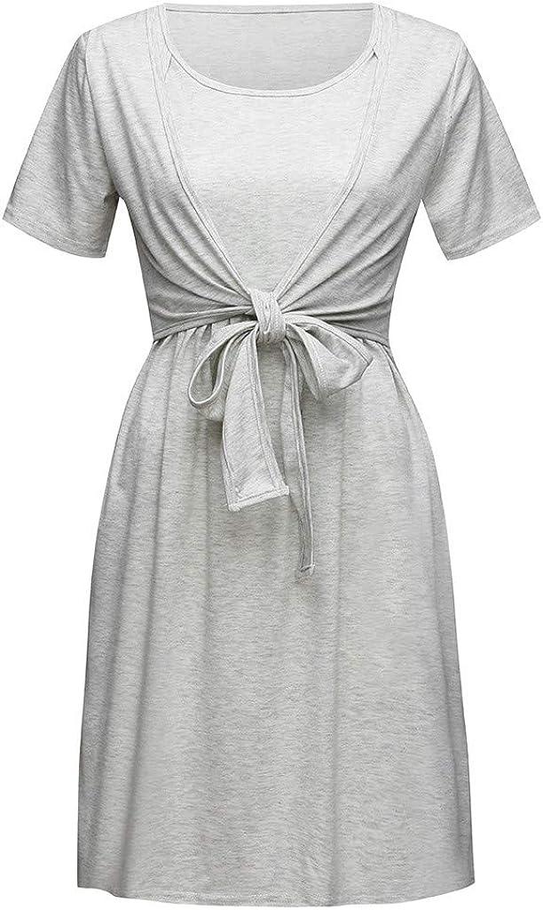 Vestido Bandage Lactancia Maternidad de Noche Camisón Mujeres Pijama Embarazadas Vestido de Hospital Premamá Vestido Ropa de Dormir Gris L: Amazon.es: Ropa y accesorios