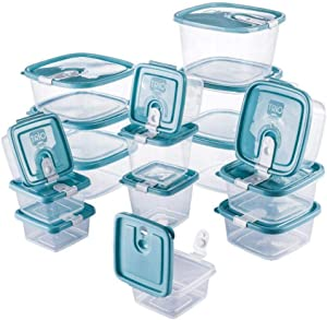 Plastic Food Storage Containers w/attached Lids. Multi sizes Containers. Microwave/Freezer & Dishwasher Safe - Steam Release Valve. BPA/Free (16, Light Blue)