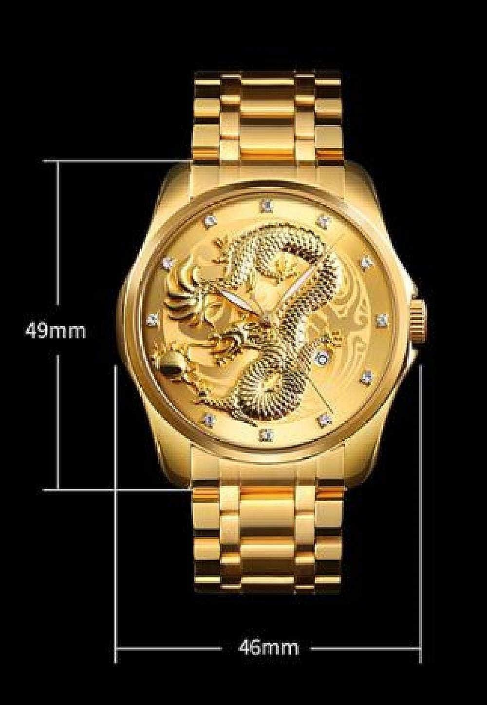 Haonb Montres Hommes Montre Créative Locale De Montre en Or en Relief du Dragon Chinois Golden Gold Face