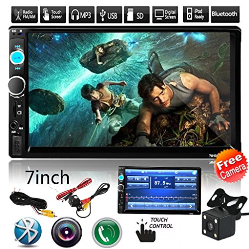 Car Rear View Camera + CarcarTong 7″ Double Din Touchscreen In Dash Stereo Car Receiver Audio Video Player Bluetooth FM Radio Mp3 / TF / USB / AUX-in / Steering wheel controls + Remote Control