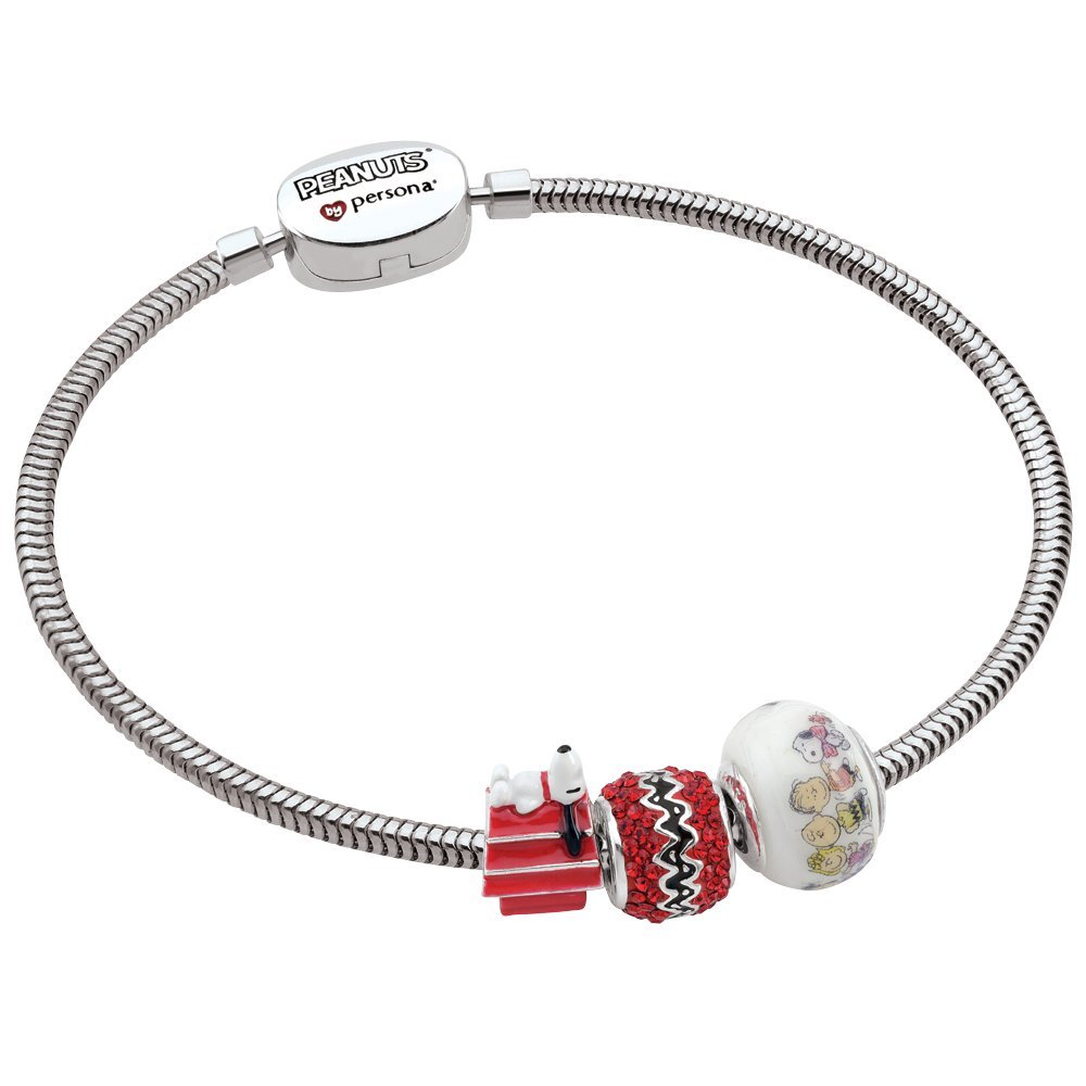 Persona Sterling Silver Peanuts Iconic Snoopy 3 Beads Charm Bracelet