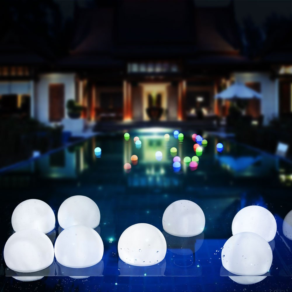 AGPTEK Flashing LED Ball Light, Cool White Floating Waterproof Mood Light for Garden Decoration/Pool/Pond/Party (Pack of 10)
