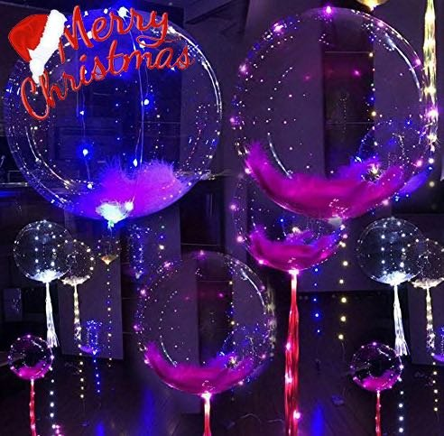 18 Inch 5 PCS Led BoBo Balloon Flashing Color, Fillable Transparent Balloons with Helium, Great for Christmas Party, House Decorations, Wedding and Party Decoration- Lasts 72 hours.