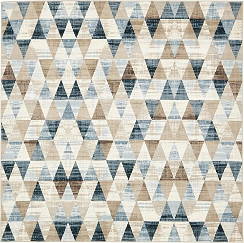 Unique Loom Chimera Collection Modern Geometric Abstract Beige Square Rug (6