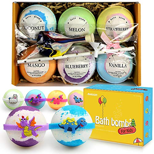 Bath Bombs for Kids with Surprised Toys Inside 6 Packs, Kids Bath Bombs with Toys Unicorn Dinasour, Great Birthday Gifts for Girls & Boys, Natural Bath Fizzers for Kids,Mild,Gentle to Senstive Skin