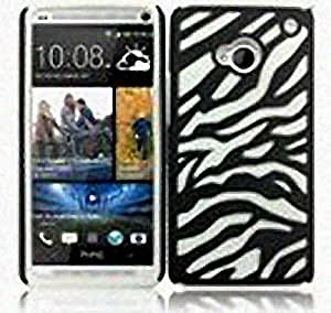 Black White Hard Soft Gel Dual Layer Zebra Cover Case for HTC One