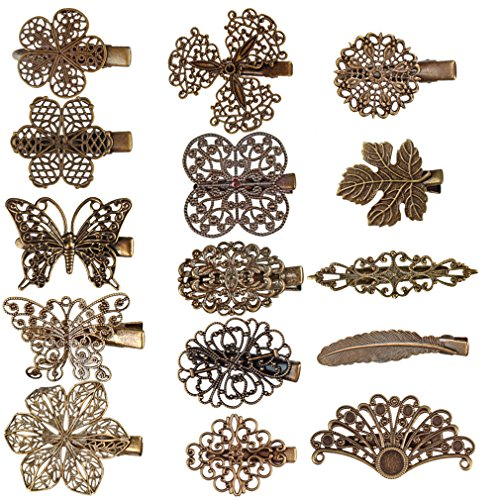 Ondder 15 Pack Vintage Hair Clips Leaf Flower Shape Hair Barrettes Headwear Lady Hair Pins Hair Accessories for Women and Girls, 15 Pieces