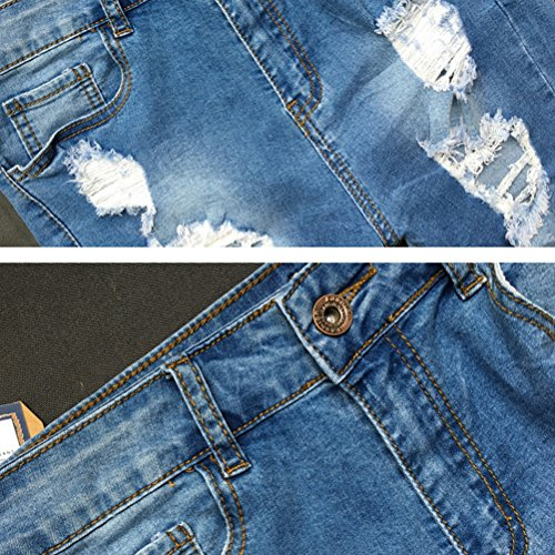 Style Zhhlaixing Shorts Street Jeans Cool Fashion High Middle Blue Donna Denim Summer Waist Slim IIqaUf