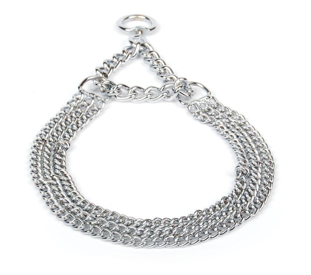 Collier semi-étrangleur pour chien en métal chromé solide avec 3rangées de chaines (No3/75) Champion