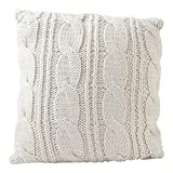 Hallmark Home Decorative Throw Pillow with Insert (18x18 inch), Holiday Ivory Sweater Knit