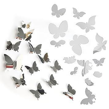 26pcs Mariposa Adhesivos Espejo Pegatina Calcomanías Etiqueta Engomadas Decoración de Pared Muebles Hogar Casa Habitación (14pcs 3D+12pcs 2D): Amazon.es: ...