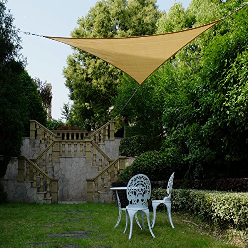 Cool Area Right Triangle 16 5 X 16 5 X 22 11 Sun Shade Sail with Stainless Steel Hardware Kit, UV Block Fabric Patio Patio Shade Sail in Color Sand