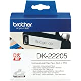 Brother DK-22205 Label Roll | Continuous Length Paper | Black on White | 62mm (W) x 30.48M (L) | Brother Genuine Supplies