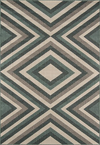 (Momeni Rugs , Baja Collection Contemporary Indoor & Outdoor Area Rug, Easy to Clean, UV protected & Fade Resistant, 3'11
