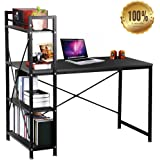 Computer Desk Study Table Workstation for Home PC Table Laptop Desk with 4 Tier Bookcase Large Storage Shelving,Black