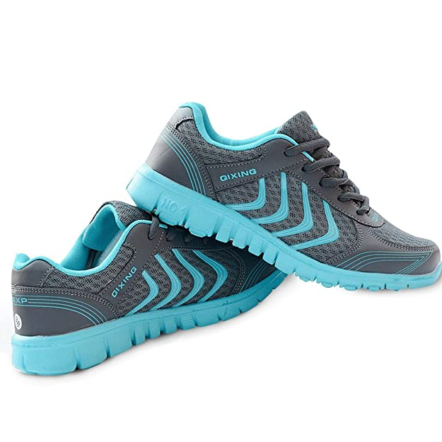 DUOYANGJIASHA Women's Athletic Mesh Breathable Casual Sneakers Lace Up Running Comfort Sports Fashion Tennis Shoes Dark Gray