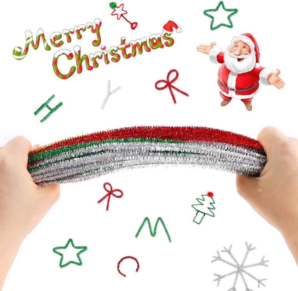 Feelava 400 St/ück Pfeifenreiniger Glitter Lametta Stiele Sparkle Pfeifenreiniger Weihnachten N/ähen DIY Crafts 4 Farben Metallic Pfeifenreiniger f/ür Hochzeit Home Party Urlaub Dekoration