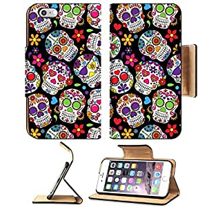 Luxlady Premium Apple iPhone 6 Plus iPhone 6S Plus Flip Pu Leather Wallet Case iPhone6 Plus IMAGE ID: 36626880 Day of the Dead Sugar Skull Seamless Vector Background