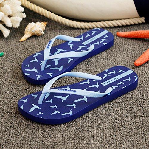 Hotmarzz Chanclas para Mujer Aves Sandalias Verano Playa Zapatillas Piscina Flip Flops Azul