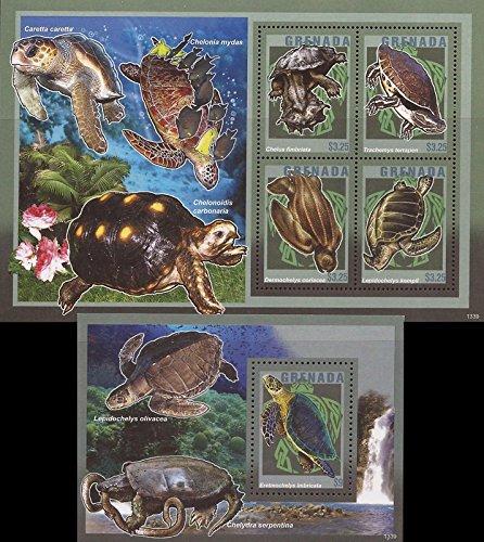 Grenada - 2014 Turtles - 4 Stamp Sheet + Souvenir Sheet #3950-1 (Sheet Grenada)