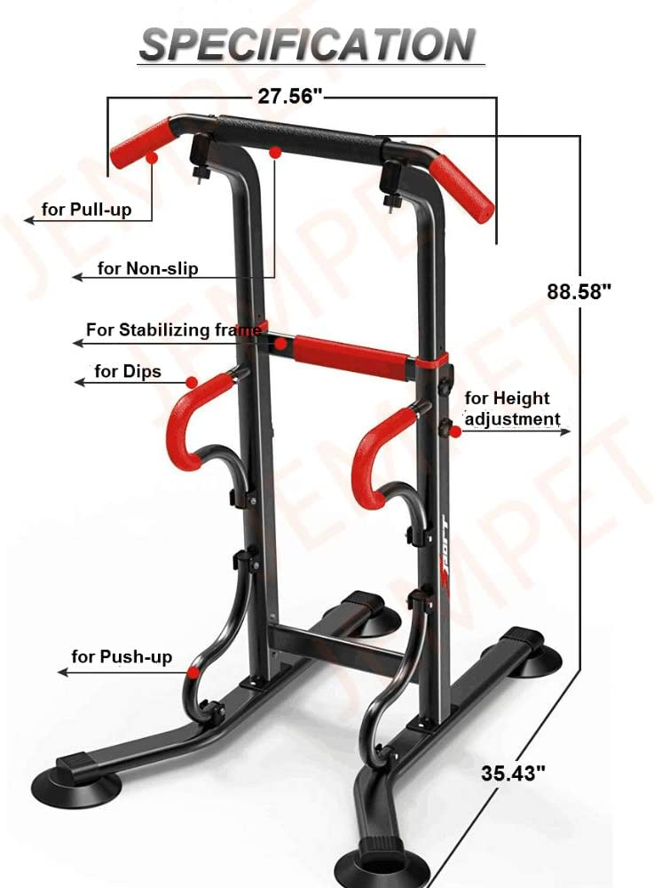JEMPET Pull Up /& Dip Stand Power Tower,Home Gym Height Adjustable Multi-Function Fitness Strength Training Equipment Exercise Workout Station
