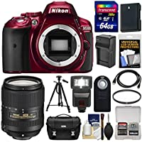 Nikon D5300 Digital SLR Camera Body (Red) with 18-300mm VR Lens + 64GB Card + Case + Flash + Battery/Charger + Tripod Kit Basic Facts Review Image