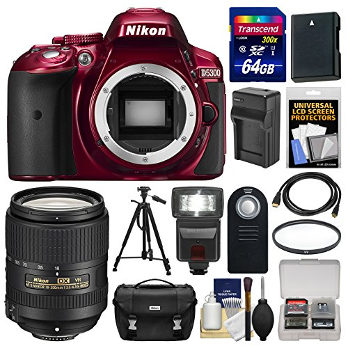 nikon-d5300-digital-slr-camera-body-red-with-18-300mm-vr-lens-64gb-card-case-flash-battery-charger-t