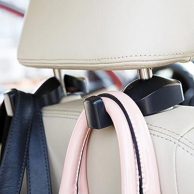 IPELY Universal Car Vehicle Back Seat Headrest Hanger Holder Hook for Bag Purse Cloth Grocery (Black -Set of 2): Automotive