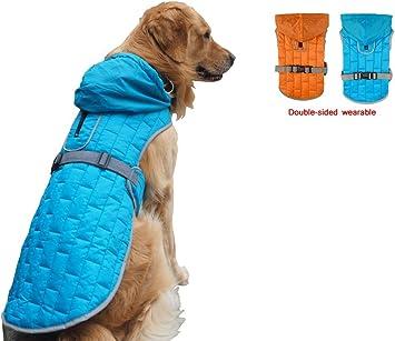 Vivi Bear Manteau de Chien Imperm/éable R/éfl/échissant Veste de Chien Sweat /à Capuche Ajustable pour Animaux de Compagnie Gilet Extra Doux pour Chiens de Taille Moyenne /à Grande(Bleu ou Orange)