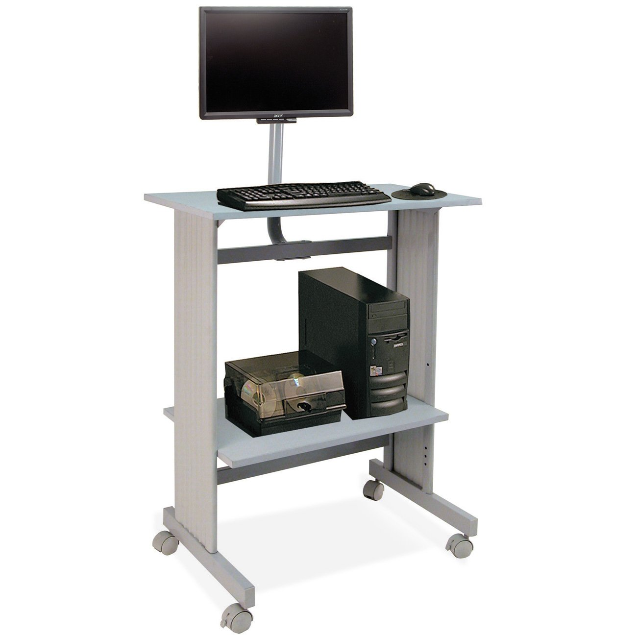 amazoncom buddy products stand up height workstation with lcd mount 20 x 56 x 29 inches gray monitor mounts office products - Standing Computer Desk