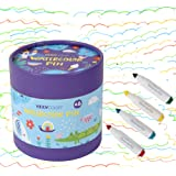 KIDDYCOLOR 48 Colors Markers for Kids Washable Coloring Markers Conical Tip Broad Line Markers for Childrens