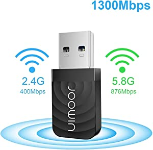 USB WiFi Adapter, JOOWIN 1300mbps Wireless Network Adapter WiFi Dongle for PC/Desktop/Laptop WiFi USB 3.0 Dual Band 2.4GHz/5GHz Support Windows XP/7/8/8.1/10, Mac OS 10.9-10.15