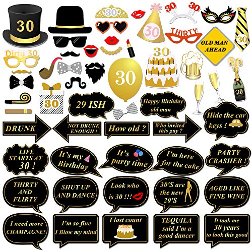 30th Birthday Party Photo Booth Props (56Pcs) for Her Him Dirty Thirty 30th Birthday Gold and Black Decorations, Konsait Big 30 Birthday Party Supplies for Men and Women