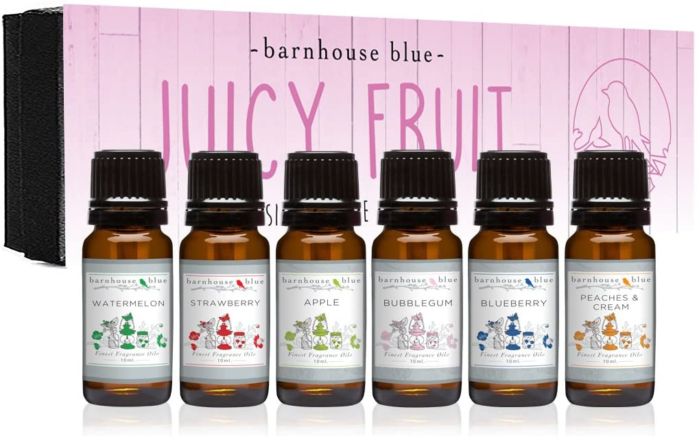 Premium Grade Fragrance Oil - Juicy Fruit - Gift Set 6/10ml Bottles - Apple, Blueberry, Bubble Gum, Peaches & Cream, Strawberry, Watermelon