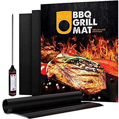 Refun BBQ Grill Mat Set of 3, FDA Approved Non-stick Baking Mats, 16 X 13 Inch, Works on Gas, Charcoal and Electric Grills etc, Free Grill Thermometer Included from refun