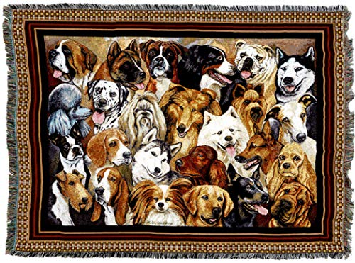 Pure Country Weavers - Man's Best Friend Collection of Dogs Woven Tapestry Blanket with Fringe Cotton USA 72x54
