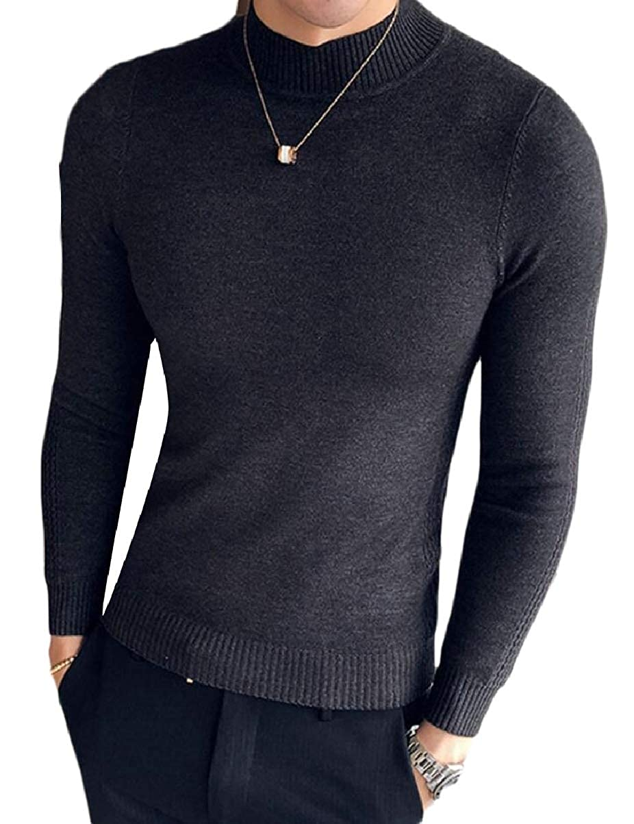CBTLVSN Mens Stand Collar Leisure Base Solid Color Knitting Slim Pullover Sweaters