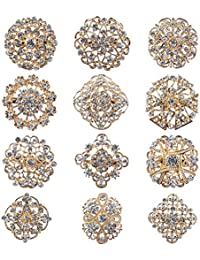 Lot 12pc Clear Rhinestone Crystal Flower Brooches Pins