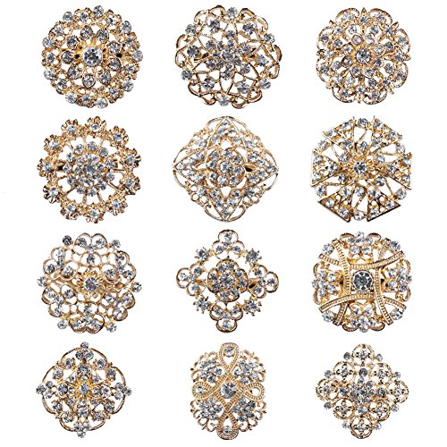 (Mutian Fashion Lot 12pc Clear Rhinestone Crystal Flower Brooches Pins)