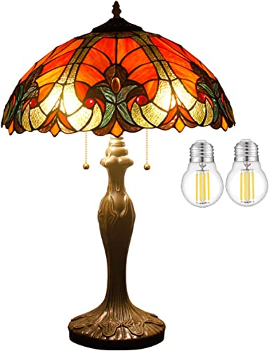 Tiffany Table Lamp LED Bulb Included Red Liaison Stained Glass Style Shade W16H24 Inch S160R WERFACTORY Lamps Parent Lover Kid Living Room Bedroom Coffee Bar Desk Bedside Reading Light Crafts Gift