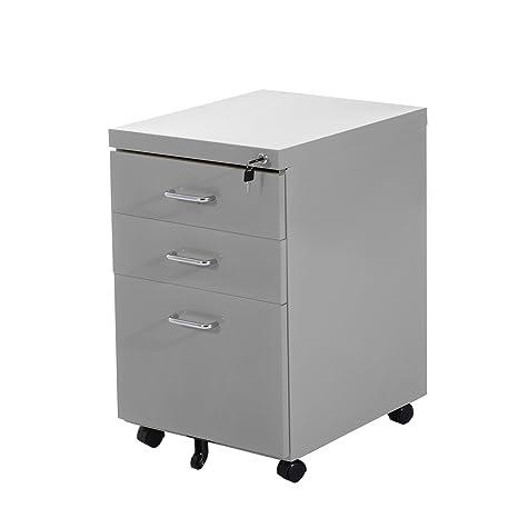 Metal HOMCOM 3 cajón archivador oficina muebles de almacenamiento organizador titular con cerradura