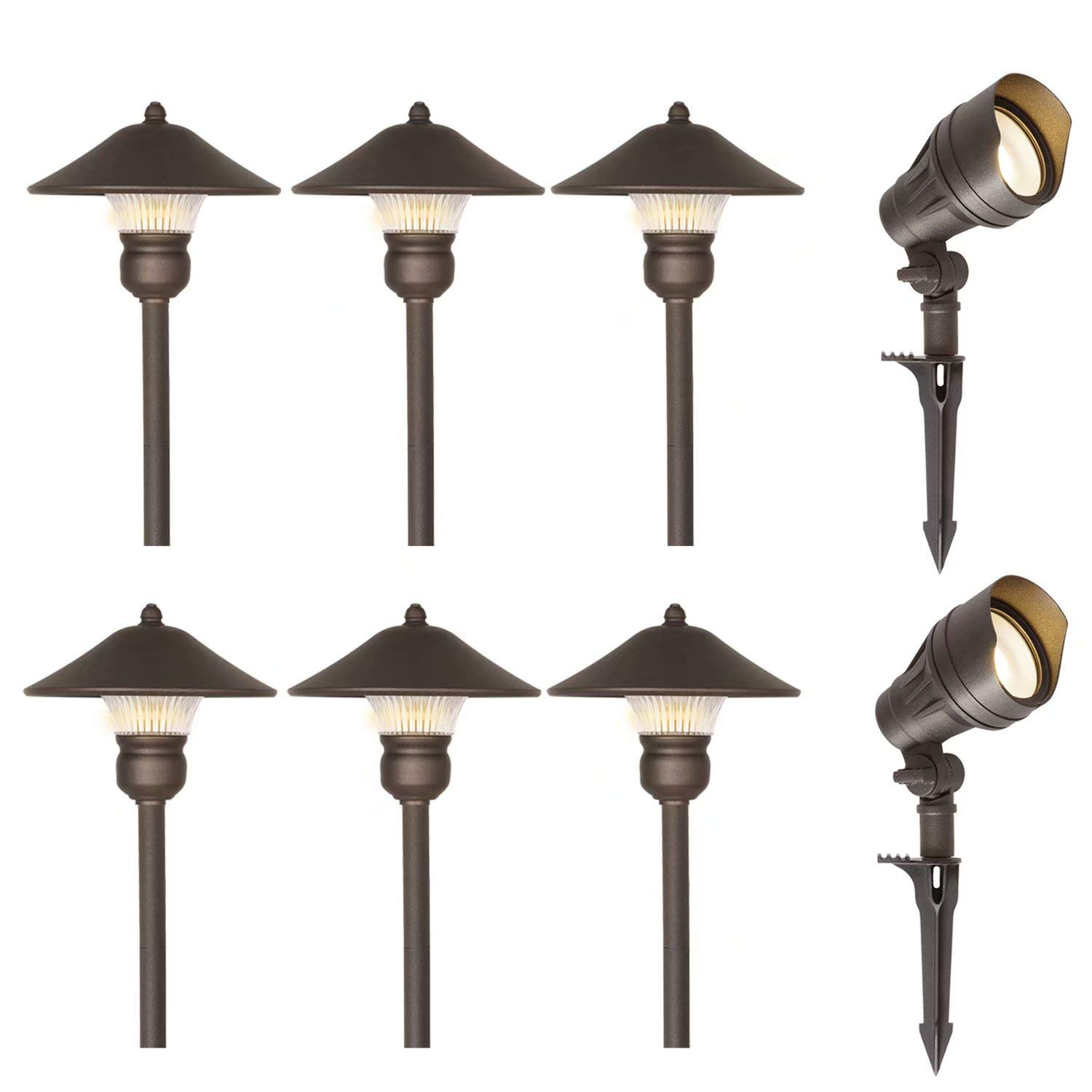 hykolity 8 Pack Low Voltage LED Landscape Kits, 12V Pathway Flood Light Kits, 13.3W 540LM and 3W 150LM Wired for Outdoor Yard Lawn, Die-cast Aluminum, 75W and 30W Equivalent 15-Year Lifespan by hykolity