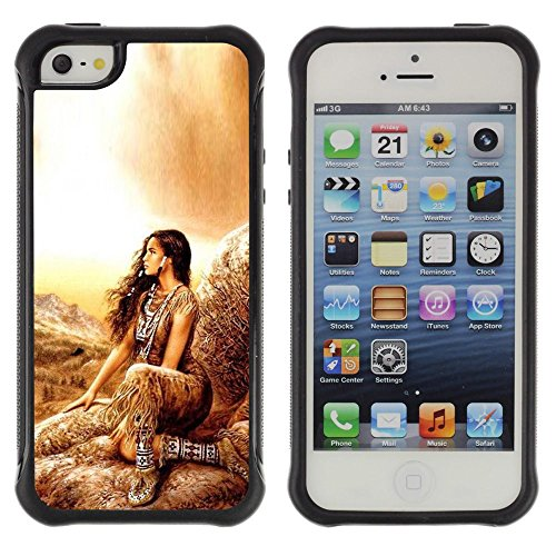 Mj Outfits (SHIMIN CAO@ Indian Girl Woman Native Outfit Brown Nature Rugged Hybrid Armor Slim Protection Case Cover Shell For iphone 5S CASE Cover ,iphone 5 5S case,iphone5S plus cover ,Cases for iphone 5 5S)