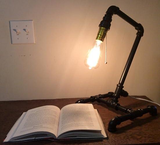 Amazon.com: Black steel pipe lamp, desk lamp, industrial light ...