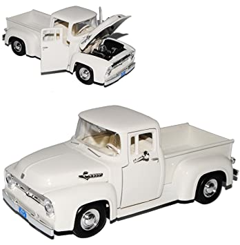 Ford F100 Pick-up 1956 Weiss Beige Pritsche Oldtimer 1//24 Motormax Modell Auto..