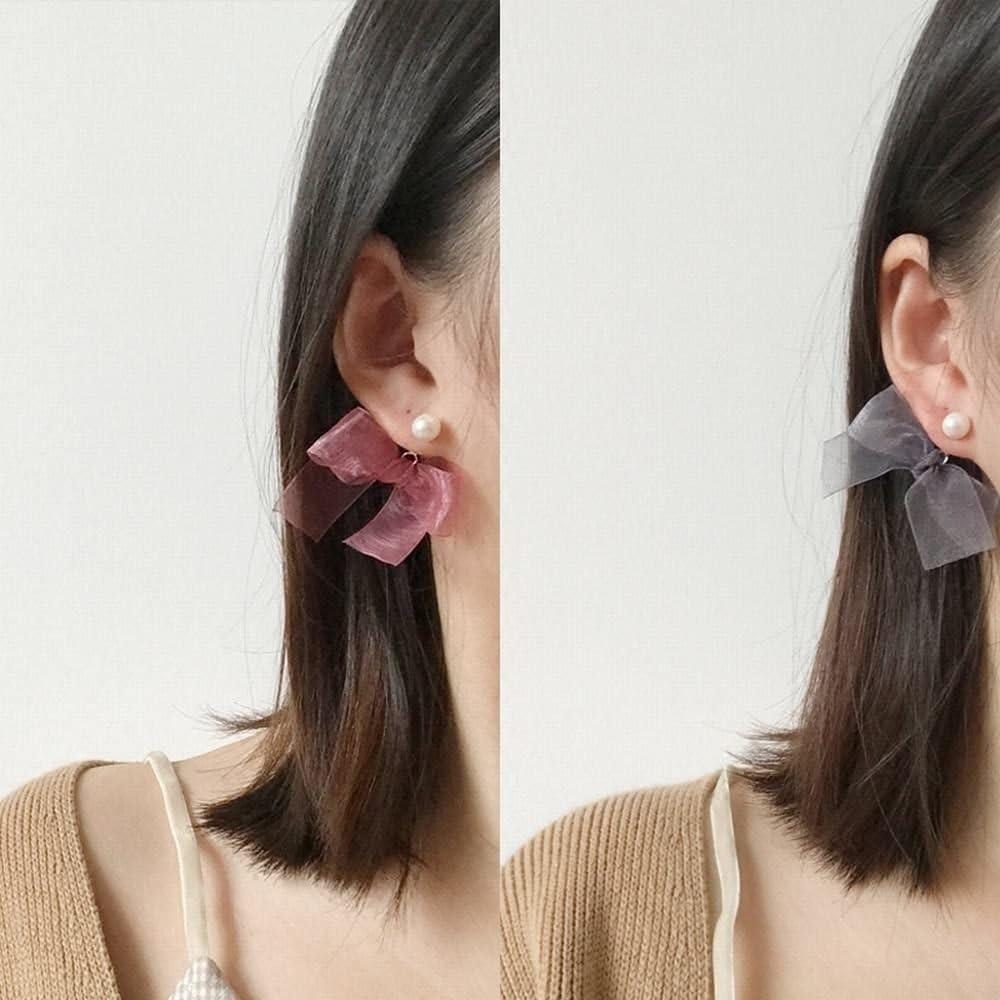 Ling Studs Earrings Hypoallergenic Cartilage Ear Piercing Simple Fashion Earrings Ear Jewelry Pearl Bow Lace Red
